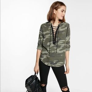 Green Lace-up Silky Soft Twill Long-sleeve Camo